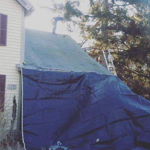 Removing an old asphalt roof, Clinton Corners, NY